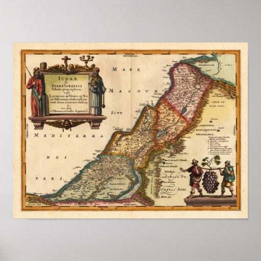 Reproducción 1649 de Janssonius de la Tierra Santa Póster