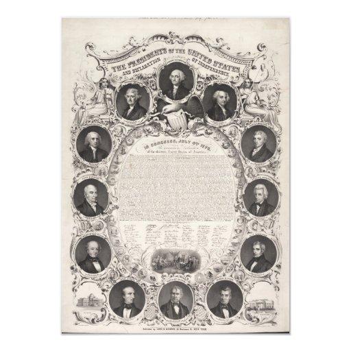 Reproducción 1876 la Declaración de Independencia Invitación 11,4 X 15,8 Cm