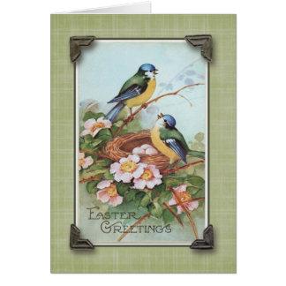 Reproducción azul del vintage del pájaro de los tarjeta