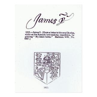 Reproducción de la firma de James VI y Postales