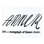 Reproducción de la firma de la reina Anne Postal