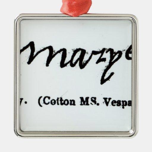 Reproducción de la firma de Maria I Adorno De Navidad