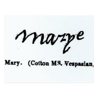 Reproducción de la firma de Maria I Tarjeta Postal