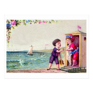 Reproducción de la postal de la playa del vintage