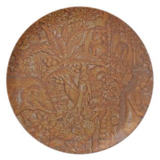Reproducción de talla de madera de Bali Platos