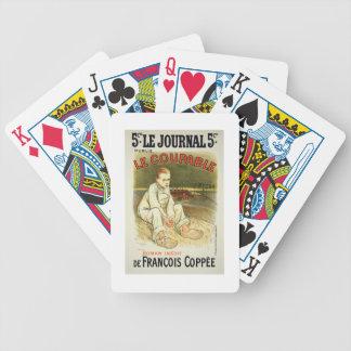 Reproducción de una publicidad de poster la novela baraja de cartas bicycle