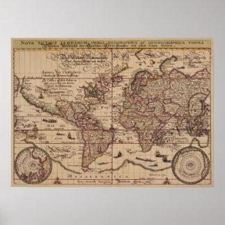 """""""Reproducción del siglo XVI del mapa de Viejo Mund Póster"""