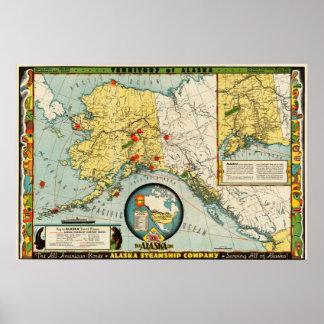 Reproducciones del mapa de la compañía de buque de poster