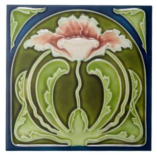 Antique Ceramic Tile Vintage Floral Flower Art Nouveau Flowers Floral Old Green