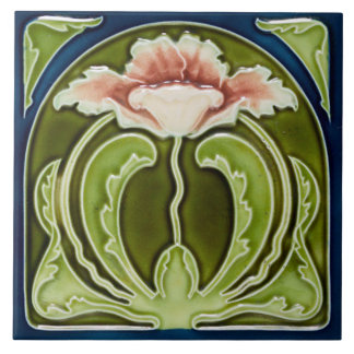Reproduction Art Nouveau Pink Poppy on Green Tile