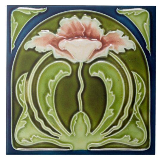 Reproduction Art Nouveau Pink Poppy On Green Tile Zazzle