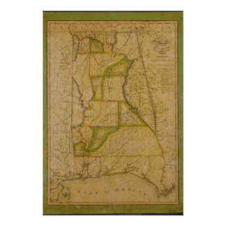 Reproduction Map of the State of Alabama 1820 Poster