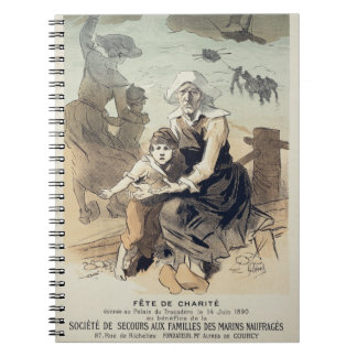 Reproduction of a poster advertising a 'Charity Pa Spiral Notebooks