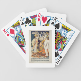 Reproduction of a poster advertising 'A La Place C Bicycle Playing Cards