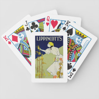 Reproduction of a poster advertising 'Lippincott's Bicycle Playing Cards