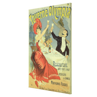 Reproduction of a poster advertising the 'Taverne Canvas Print