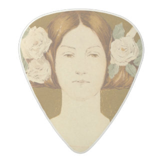 Reproduction of a poster advertising the 'Women's Acetal Guitar Pick