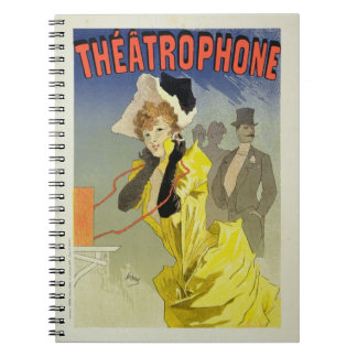 Reproduction of a poster advertising 'Theatrophone Spiral Note Books