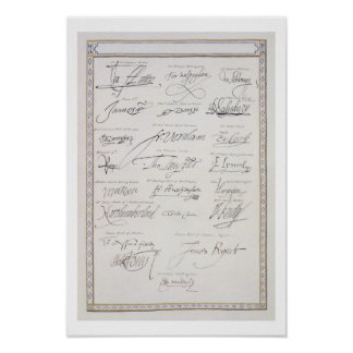 Reproduction of Signatures of the Tudors and their Poster