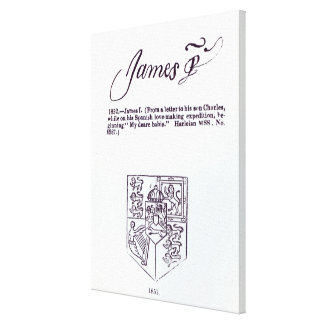 Reproduction of the signature of James VI and Canvas Print