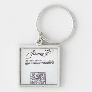 Reproduction of the signature of James VI and Silver-Colored Square Keychain