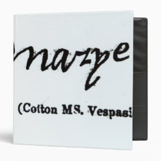 Reproduction of the signature of Mary I 3 Ring Binder
