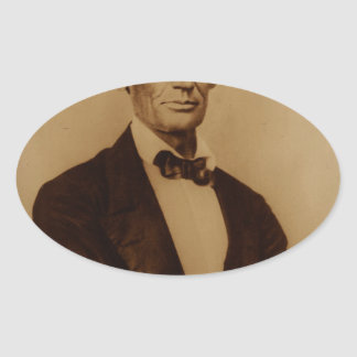 [Reproduction print of Lincoln with signature inse Oval Sticker
