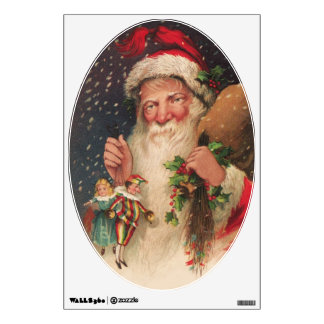 Reproduction Vintage Christmas Postcard Image Wall Sticker