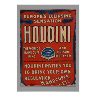 Reproduction Vintage Poster Harry Houdini