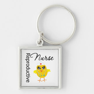 Reproductive Nurse Chick v1 Silver-Colored Square Keychain