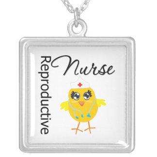 Reproductive Nurse Chick v1 Square Pendant Necklace