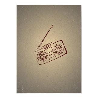 Reproductor de casete audio retro del vintage. invitación 13,9 x 19,0 cm