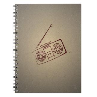 Reproductor de casete audio retro del vintage. Pap Libretas Espirales