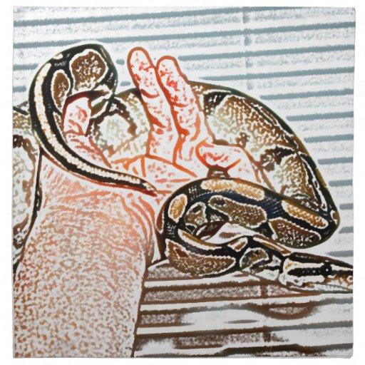 reptil disponible del bosquejo de la serpiente del servilleta imprimida