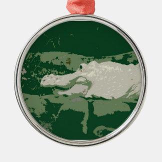 reptil verde gráfico del cocodrilo blanco del albi ornamentos de navidad