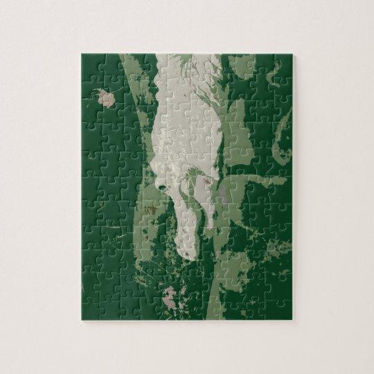 reptil verde gráfico del cocodrilo blanco del puzzle