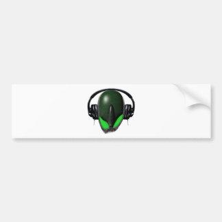Reptile Alien {Angry} Pissed Off DJ in Headphones Bumper Sticker