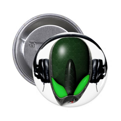 Reptile Alien {Angry} Pissed Off DJ in Headphones Pinback Buttons