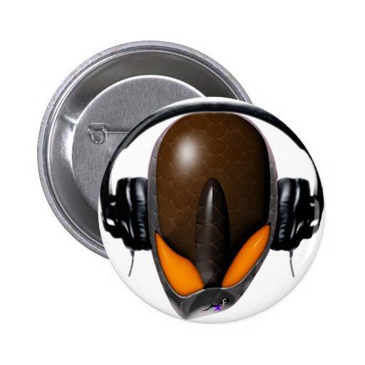 Reptile Alien Pissed Off DJ in Headphones - Orange Pinback Buttons