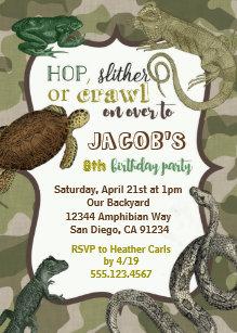Reptile birthday invitations zazzle reptile animal vintage birthday invitation filmwisefo