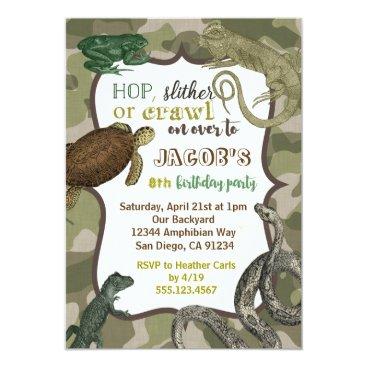 seasidepapercompany Reptile Animal Vintage Birthday Invitation