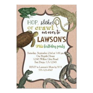 seasidepapercompany Reptile Animas Birthday Invitation