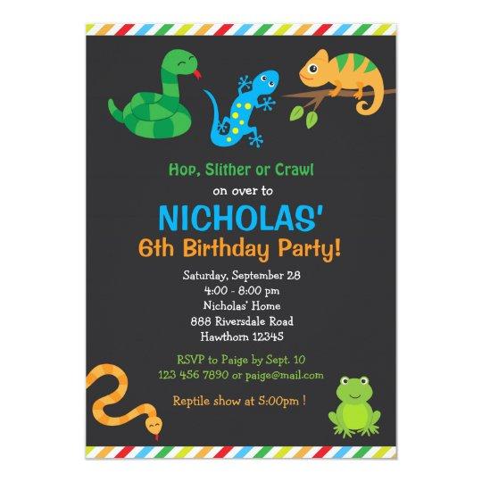 Reptile Birthday Party Invitation Reptile Party Zazzle