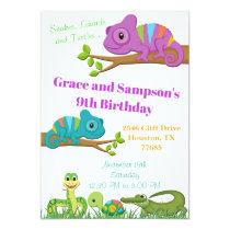 Reptile Jungle Snake Turtle Birthday Invitation