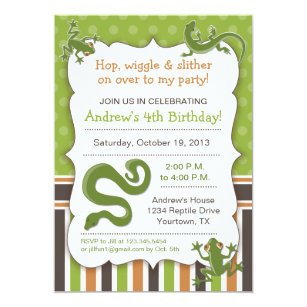 Reptile Birthday Invitations Announcements Zazzle