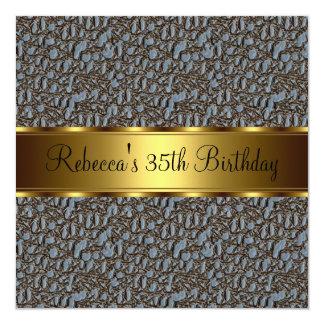 Reptile Print 35th Elegant Birthday Party 5.25x5.25 Square Paper Invitation Card