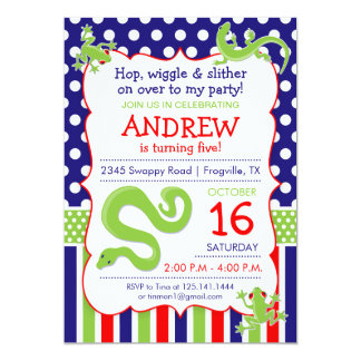 Reptile Theme Birthday Party Invitation