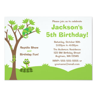 Reptile Tree Birthday Party Card
