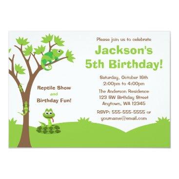 printcreekstudio Reptile Tree Birthday Party Card