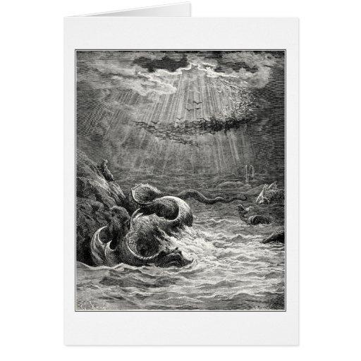 Reptile with spawn abundant, by Gustave Dore Greeting Card
